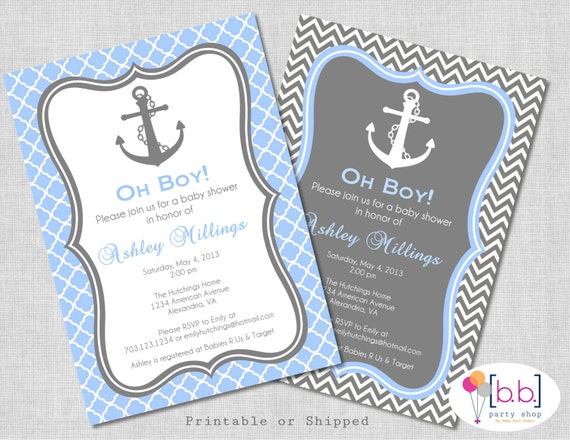 Nautical Baby Shower Invitation- Boy, (Gray & Blue)