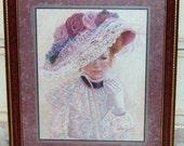 Vintage, Victorian Lady Picture, Bettie  Herbert Felder, Mauve, Victorian, Shabby Chic, Romantic, Wall Picture, Victorian Decor