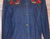 SALE,Vintage,Embroidery,   Denim Jacket, White Boho Skirt,  Western ,