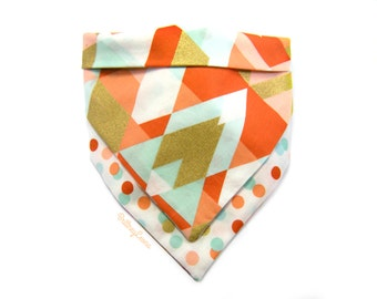 Sami - Light Blue, Coral, Red, Gold and White Polka Dot and Triangle Colored Reversible Bandanna Bib | One Size |
