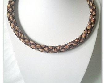 Ombre amber brown geometric bead crochet necklace rhombs pattern  handmade