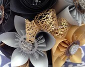Custom Metallic steampunk paper flower bouquet - reserved for Konstanz Silverbow