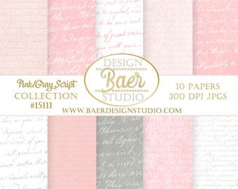 Digital Scrapbook Paper:Pink Digital Paper, Pink and Gray Script Digital Paper, Gray Script Digital Paper, Pink French Script Digital Paper