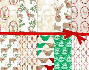 Digital Paper Christmas, Reindeer Digital Paper, Deer Head Digital Paper, Woodland animal digital Paper, Bear Digital Paper, #15012