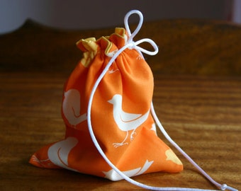 Happy Sparrows Small Fabric Gift Bag, Fully lined with a Ivory Satin Drawstring