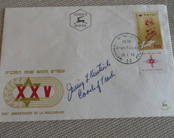 C250) 1958 Israel Maccabiade Games  First Day Issue Israel XXV anniversary signed by track coach