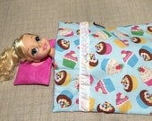 """Fancy Cupcakes with Sprinkles on Top 18"""" Doll Quilt with Pillow"""