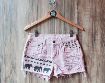 Elephant denim shorts | High waisted denim shorts | Festival shorts |  Bohemian shorts | Painted denim |  Aztec tribal denim | Waves shorts