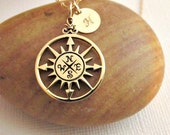 Compass rose necklace- GOLD 14K gold fill personalized nautical letter charm simple graduation gift grad necklace everyday compass jewelry