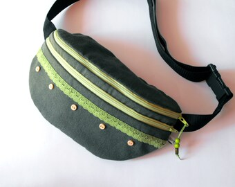 fanny pack/hip bag - dark green with lace (large size)