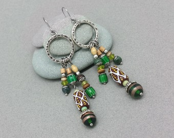 Hammered Pewter Tribal Dangle Earrings with Surgical Steel