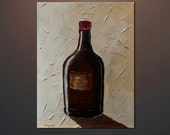 Still Life Wine Series Original Thick Mixed Media and Acrylic Abstract Painting on Gallery canvas 18 x 24