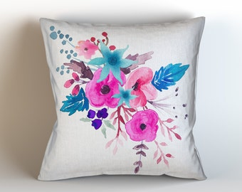 Beautiful Pink and Blue Bouquet Original Watercolor Art, Throw Pillow Case w/optional insert, Home Decor/ Accent Throw Pillow/ Watercolor