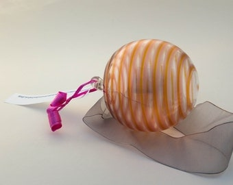 Hand Blown Glass Peach Gold Striped Ornament Sun Catcher