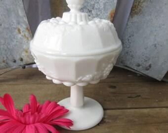 Beautiful Milk Glass Grape Tall Pedestal Candy Dish/ Westmoreland Paneled Grape Compote