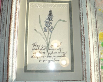 Vintage Embossed Paper Art Work with wonderful hand painted purple floral design and calligraphy note for A special person in our lives