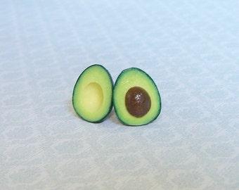 Avocado - Post Earrings. Avocado halves  earrings. Polymer clay food.
