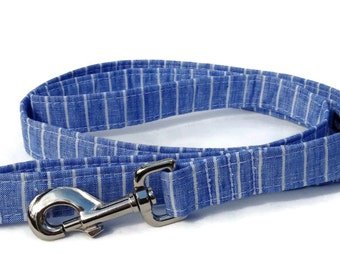 Pinstripe  Dog Leash in Blue and White Linen for Small to Large Dogs