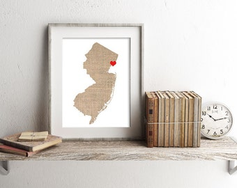 New Jersey or ANY State Custom Personalized Heart Print USA Hometown Wall Art Gift Souvenir Newark