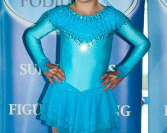 Custom Figure Skating Dress - Figure Skating Dress- Blue Figure Skating Dress - Competition Dress - Ice Skate Dress