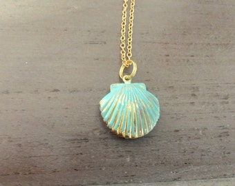 Shell Locket Necklace, patina shell locket, gold filled chain, long necklace
