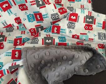 Baby Blanket in Robert Kaufman Fabric by Ann Kelle Fun Bots READY TO SHIP!!