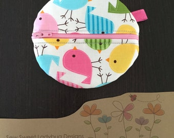 Paci Pod in Robert Kaufman Fabric by Ann Kelle Birds in Spring Girl Paci Pod Ready to Ship