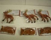 "6 Flocked Brown Deer ~ antlers and lying down ~ Christmas Craft decor 2.5-5"""