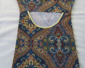 Navy paisley clothespin bag with clip