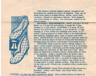 1940s - Mail Order Design 7396 Vintage Sewing Pattern Slippers Footwear House Shoes