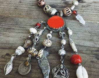 Tribal necklace, kuchi necklace, gypsy necklace, tribal assemblage, ethnic necklace, bold necklace, gypsy boho necklace, nomadic jewlery