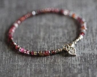Spinel Bracelet, Multi Spinel, Red, Pink, Grey, Gemstone Bracelet, Beaded, Silver Charm, 3mm, Delicate, Heart Charm, Sterling Silver