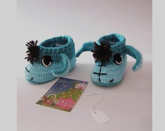 Blue Donkey  Baby Booties, Knitted Baby Booties, Crochet Handmade Baby Booties, Baby Boy Shoes, Baby Eeyore Booties, Baby Shower Gifts