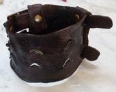 Bracelet wristband -  Cuff Leather Bracelet - Bangle boho - leather bangle - Boho bracelet -  bohemian - black bracelet - brown bangle