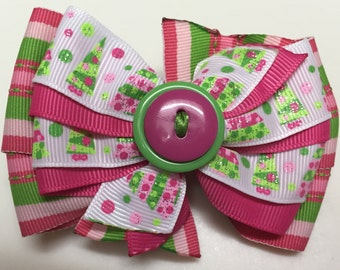 Pink & Green Stripes Glitter Christmas Trees HOLIDAY WINTER Snow Ribbon Bow Handmade for PETS Dog Collar Accessory