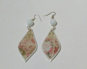 White drop designed earrings