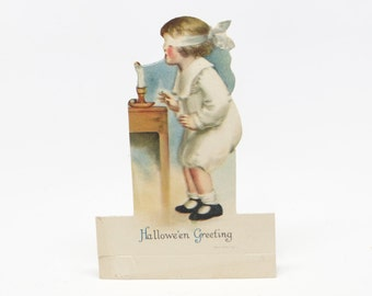 1920's Halloween Greeting Place Card, Antique Die Cut by Wolf & Co., NY