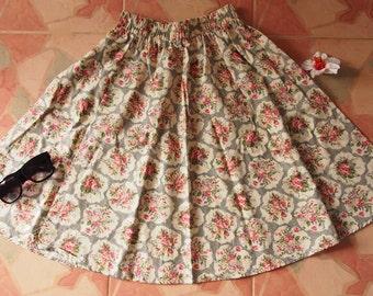 """Rose Floral Skirt - Summer Garden Beach Time Skirt - Midi Skirt Mid Skirt - Floral Skirt - Kitsch Skirt - Dancing Skirt- Waist 26""""-28"""""""