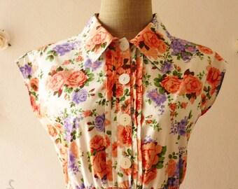 SALE - Mini Dress Floral Dress Shirt Collar Floral Bridesmaid Dress Cute Sundress - Size XS-S