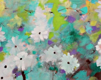 "Abstract Floral Painting on Canvas, Colorful Artwork Original, Spring Colors, ""White Magnolias"" 12x24"