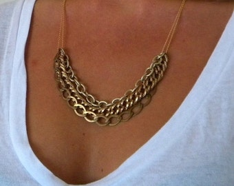 Gold Brass Multi Layered Necklace