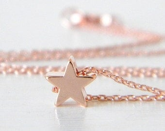 Tiny Rose Gold Star Charm Necklace