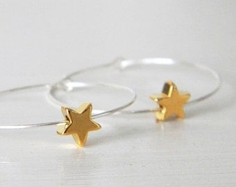 SALE Sterling Silver Hoop Gold Star Earrings