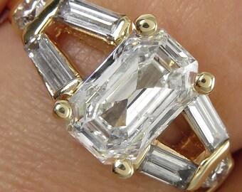 Vintage Estate 2.02ctw Emerald Diamond Engagement Yellow Gold Ring