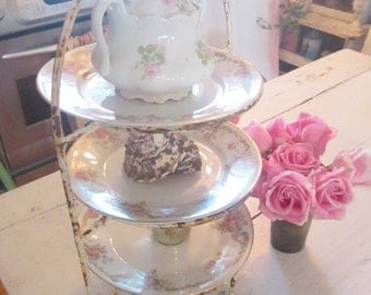 RESERVED    layaway order payment listing Vintage plate rack 3 rose plates   shabby chic prairie cottage rachel ashwell