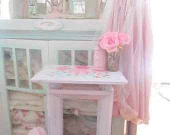 Pink chippy vintage table shabby chic  prairie cottage