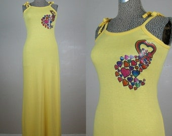 Vintage 1970s Yellow Dress 70s 80s Yellow Cotton Knit Maxi with Rainbow Heart Decal Size S/M