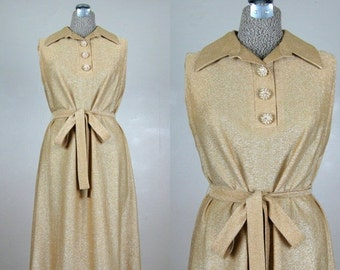 FLASH SALE // Vintage Early 60s 1960s Gold Lurex Cocktail Shift Dress with Rhinestone Buttons by Henry Lee Size 8M