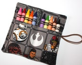 Star Wars Party Favors, READY TO SHIP Crayon Rolls Star Wars characters fabric, holds 10 crayons, Star Wars birthday party, Party Supplies