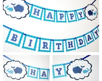 Whales Banner, Birthday Party Banner, Happy Birthday Banner, READY TO SHIP, Blue Whales Birthday Party Decorations Banners